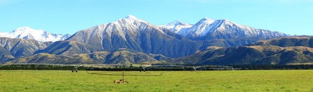 new scenery: panorama of great southern alps in New Zealand