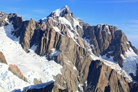 snowy mountain: aerial view of suthern alpine alps of New Zealand from helicopter