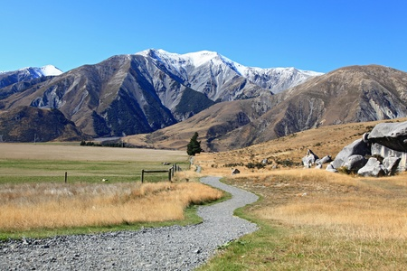 curve pathway to the mountain at Castle Hill New Zealand photo