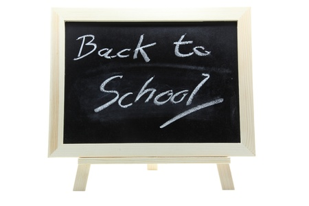 chalkboard or blackboard on a white background with text Back to School photo