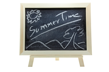 chalkboard or blackboard on a white background with text Summer time photo