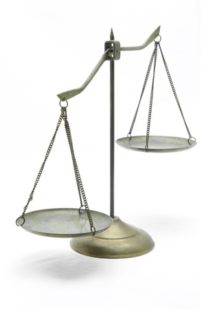 imbalance: unbalance of golden brass scales of justice on white front perspective