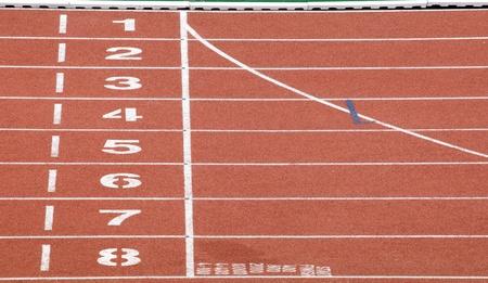 pista de atletismo: Punto de comienzo y fin de pista