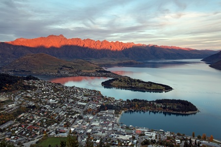 Queenstown downtown at sunset time photo
