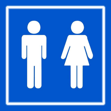 public toilet: Restroom toilet or WC Sign on Blue