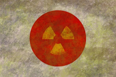 dirty and grunge Flag of japan with nuclear symbol inside photo