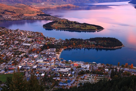 queenstown downtown skyline with lake Wakatipu from top at dusk photo