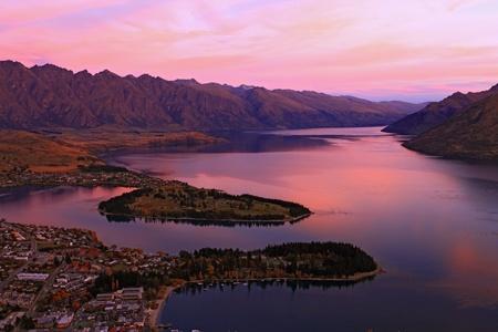 Lake Wakaitipu at Queentowns at dusk photo