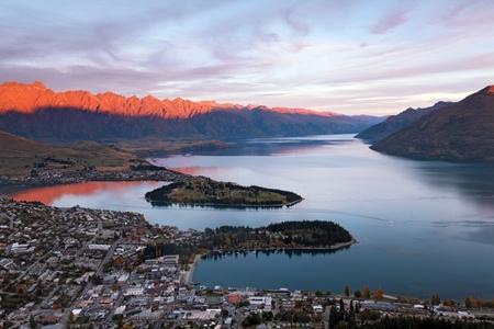 Sunset at Lake Wakaitipu Queentowns at dusk, New Zealand photo