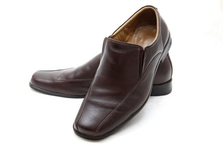 luxury brown leather man shoes on a white background Stock Photo - 9502133
