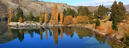 panoram reflection of southern alpine alps mountain range as a Mirror at lake Lake Dunstan cromwell in New Zealand photo