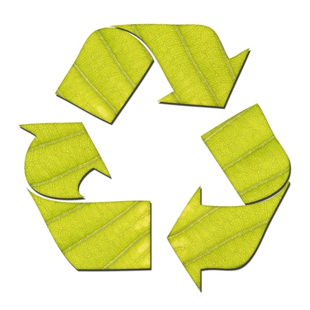 produce energy: recycle sign made from green leaf isolated on white