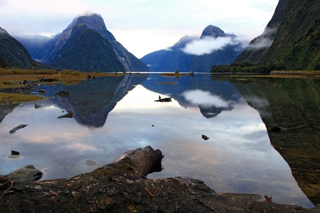 landscape of high mountain glacier at milford sound, New Zealand Stock Photo - 9659023