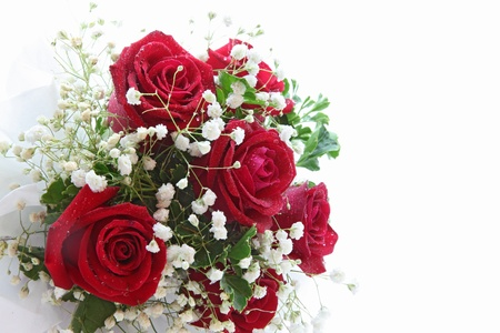 rose bouquet isolated on white using in wedding or any greeting ceremony side perspective photo