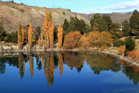 panorama of dunstan lake reflection in New Zealand near Queenstown photo