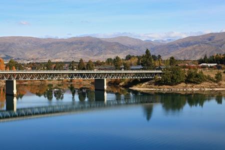 road bridge over dunstan lake near Queenstown New Zealand photo