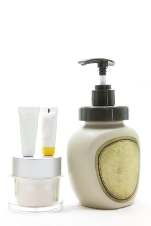 cleanser: studio shot of set of beauty cosmetic cream over white background using in spa treatment