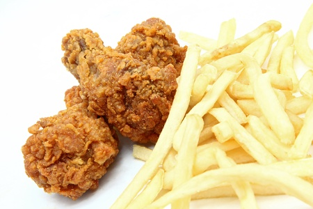 crispy: crispy deep fried chicken wing with french fries