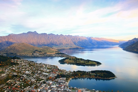 Queenstown downtown aerial view New Zealand Stock Photo