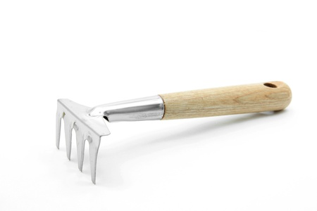 lute: gardening fork trowel lute isolated on white