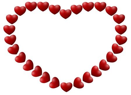 heart frame made from mini heart photo