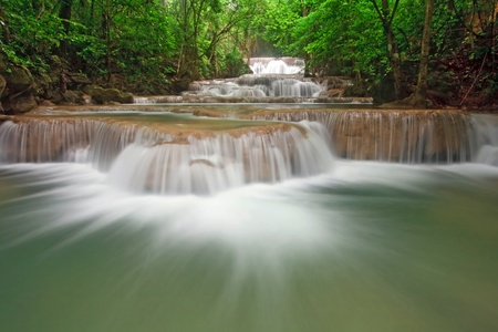 khamin: Huay Mae Khamin Waterfall First Level, Paradise waterfall in Tropical rain forest of Thailand
