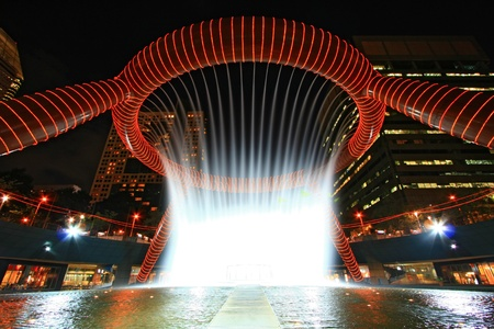 Fountain of Wealth in dusk , landmark of Singapore night Stock Photo - 10023434