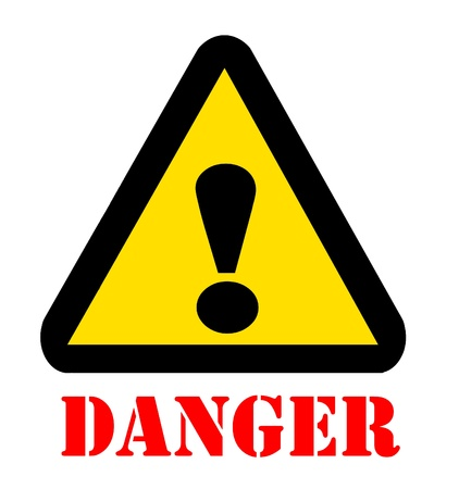 Sign of Danger caution Symbol with text photo