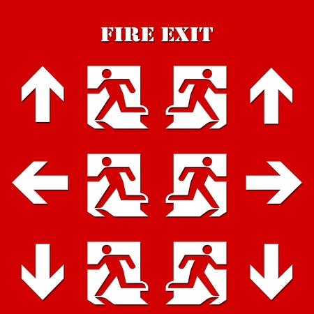 collection of Fire Exit Symbol and sign for safety with Text Stock Photo - 10029442