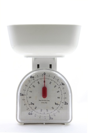 kitchen scale: isolated white kitchen empty food scale utensil on a white background