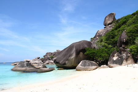similan islands: The Sailing Rock tropical beach, Landmark of Similan National Park, Phuket Thailand Stock Photo