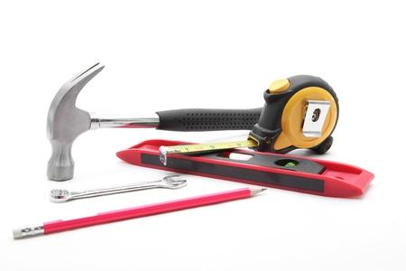 screwdriwer: basic construction tool set on white background