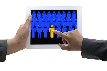 asian Businessman hand choosing person from touch screen pad in electronic recruitment process photo