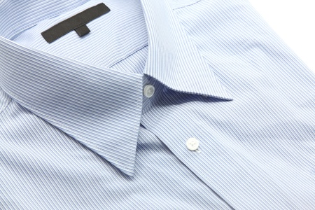 Close up view of a generic blue business shirt with a line pattern Stock Photo