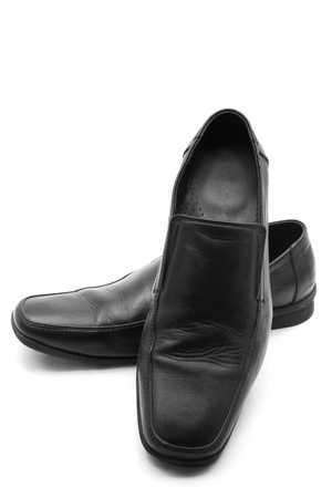 luxury black leather business man shoes on a white background Stock Photo - 10037740