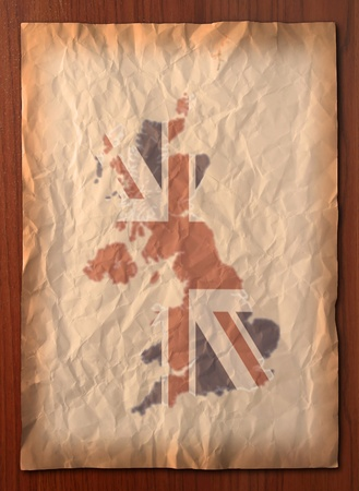 UK Map with flag on recycle vintage paper craft photo