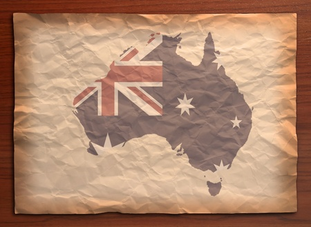 Australia Map with flag on recycle vintage paper craft Stock Photo - 10037756