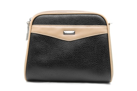 black brown fake leather woman bag isolated on white Stock Photo - 10037764
