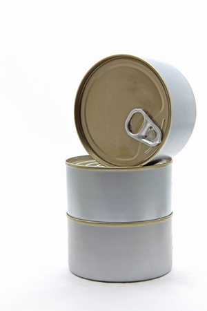 Isolated of Silver Aluminum metal tin can on white background photo