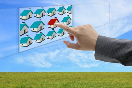 asian business man hand finding online property Stock Photo