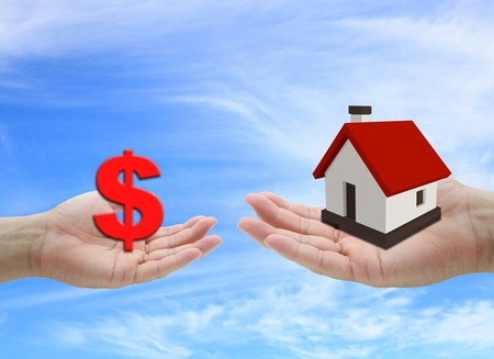 concept of money for buying house property with blue sky background Stock Photo - 10081983
