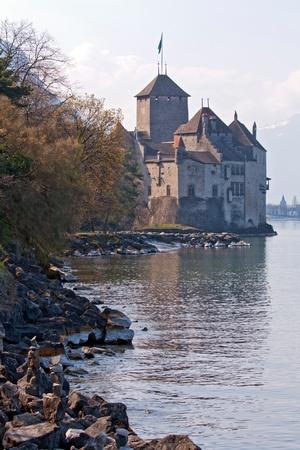convict lake: Chateau de Chillon Castle, Montreux lausanne Geneva lake, Switzerland