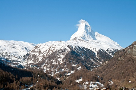 chocolate peak: Matterhorn Alpine alps Peak from Zermatt City, Switzerland Stock Photo