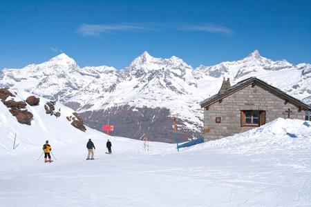 zermatt: Skier at Matterhorn Alpine alps peak located at Gornergrat in Switzerland Stock Photo