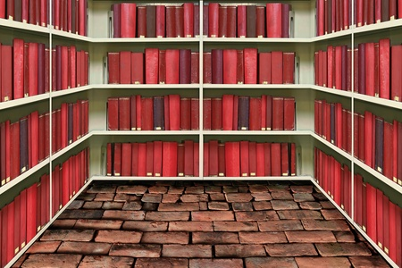 red hard cover book on shelf in old brick library photo