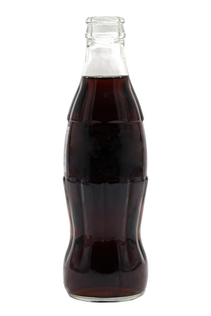 cola: open cola bottle soft carbonated drink isolated on a white background Stock Photo