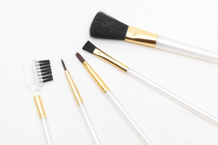 make up products: set of biaisc cosmetic brushes isolated on white background Stock Photo