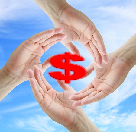 asian business man holding Dollar Sign for helping and saving concept Stock Photo - 10223670