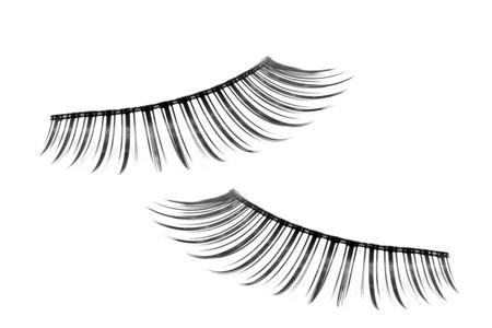 false eyelashes: pair of fake false eyelash isolated on white Stock Photo