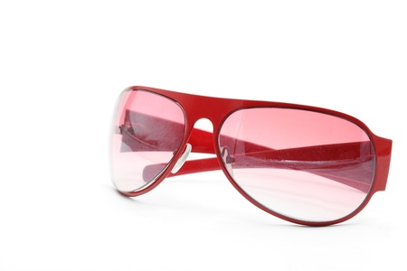 isolated fashion red sunglasses on white background side perspective photo